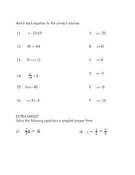 One step equations quiz