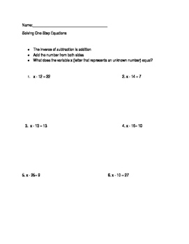One step equations (subtraction)