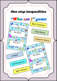 One step inequalities - Who am I? task card game