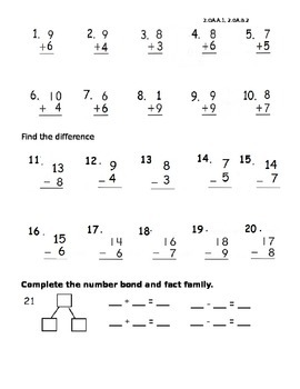 One-step word problems. addition. subtraction. fact family