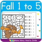 One to Five Fall Color by Code Worksheets  MMHS5