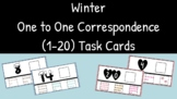 One to One Correspondence (1-20) Drag and Drop Winter Task Cards