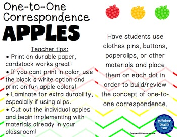 One-to-One Correspondence Apples
