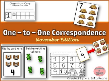 One to One Correspondence! Counting with Counters- November Edition!