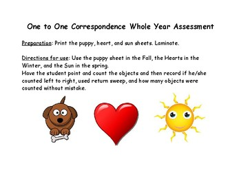 One to One Correspondence Whole Year Assessment Precious Preschoolers