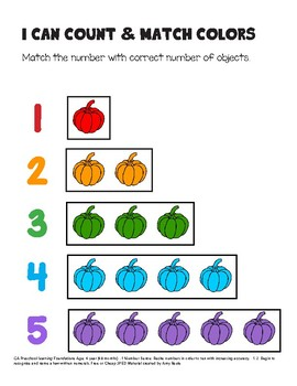 One to one Correspondence, Color and Numbers using Pumpkins