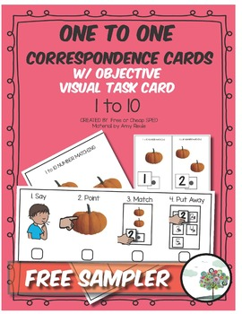 One to one Correspondence cards with visual direction card numbers 1 - 10