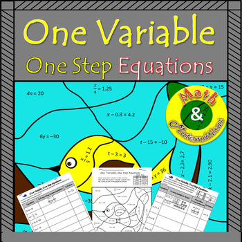 One-variable One-step Equations-Coloring Page, Practice with Models TEKS 6.10A