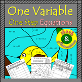 One-variable One-step Equations-Coloring Page, Practice wi