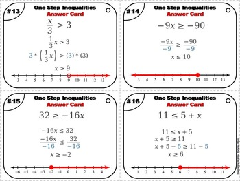 Solving One Step Inequalities Task Cards 5 to 9th Grade