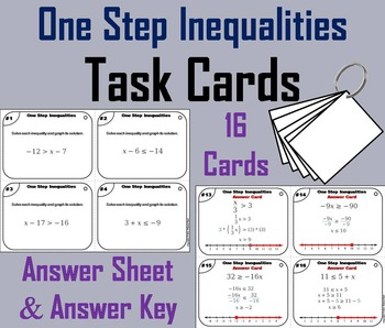 Solving One Step Inequalities Task Cards/ Solving 1 Step I