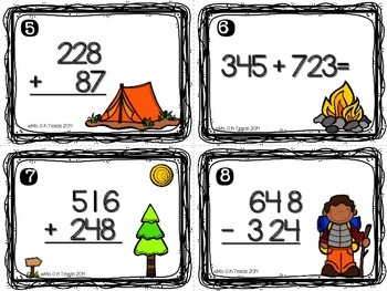 Campin Out Addition and Subtraction Task Cards and Scoot