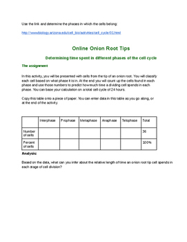 Onion Root Tip Online Lab Activity
