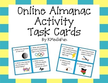 Online Almanac Activity Task Cards by KMediaFun