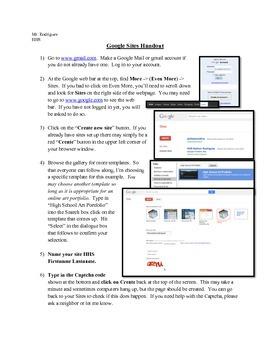 Online Art Portfolio - Google Sites