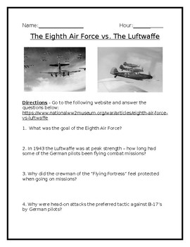 Free Article Analysis and Review: The Eighth Air Force vs. The Luftwaffe w/Key