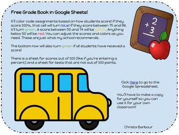 online colored gradebook by christa barbour teachers pay teachers
