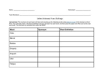 Online Dictionary Skills Worksheet