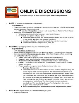 Online Discussion Instructions