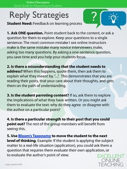 Online Discussions: Quick Guide for Responding To Students