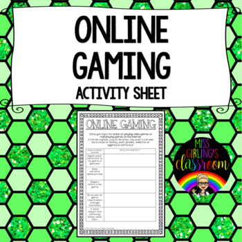 Online Gaming {Cybersafety Activity Sheet}