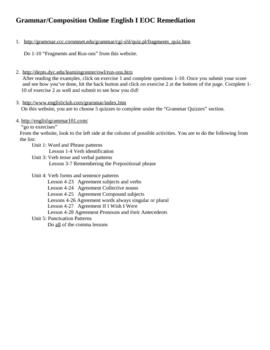 Online Grammar Practice Webquest with Self-Paced Quizzes
