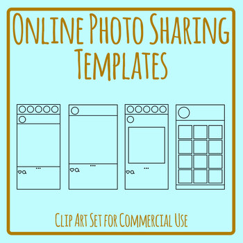 Online Photo Sharing Templates - Instagram etc Clip Art Set Commercial Use