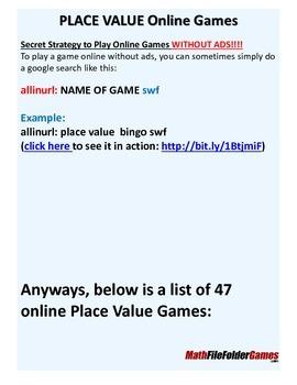 Online Place Value Games BIG LIST