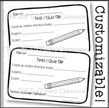 FREE Online Quiz or Test Slip