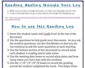 online reading meeting log using google docs