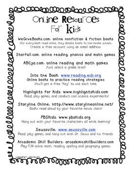Online Resource Handout for Primary Grades