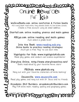 Online Resource Handout for Primary Grades