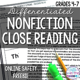 FREE Online Safety Differentiated Reading Comprehension Pa