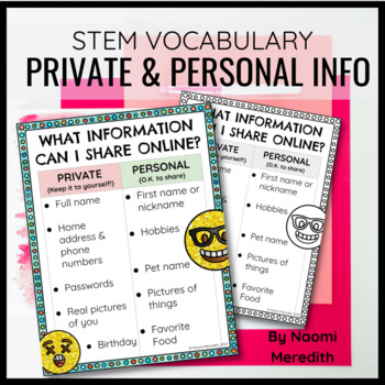 Online Safety: Private and Personal Information Anchor Chart