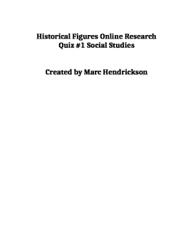 Online Social Studies Research Historical People
