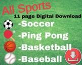 Online Teacher Sports Pack Reward-Basketball, Baseball, So