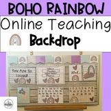 Online Teaching Backdrop Boho Rainbow