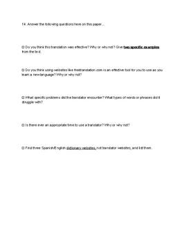 Online Translator Activity