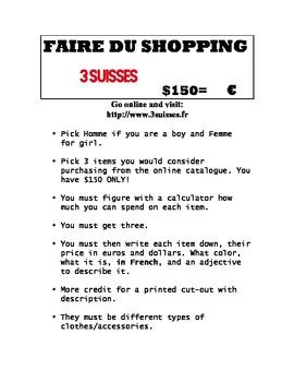 Online Webquest FAIRE DU SHOPPING Clothing activity