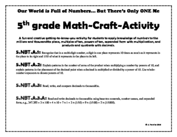 World of Numbers, Get to Know Your Students Math Activity