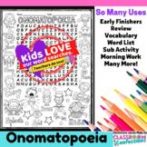Onomatopoeia Activity: Onomatopoeia Word Search