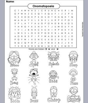 Onomatopoeia Worksheet/ Word Search