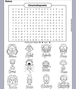 Onomatopoeia Word Search/ Onomatopoeia Activity/ Figurativ