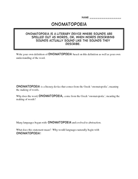 Onomatopoeia: A worksheet to use with ANY book!