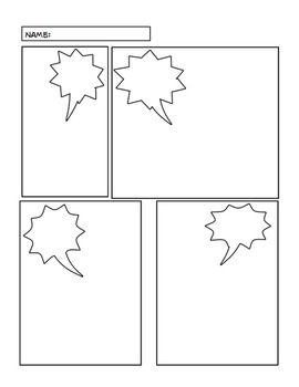Onomatopoeia comic book lesson by kerry vellake tpt for Comic strip template maker