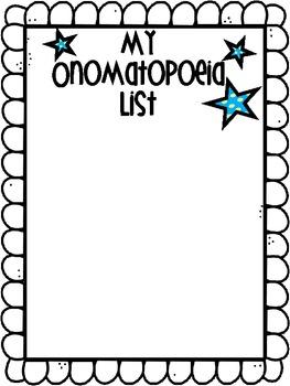 Onomatopoeia Graphic Organizer