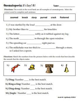 Onomatopoeia: It's Easy! (Free Sample Worksheet)