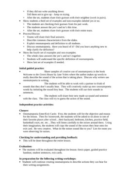 Onomatopoeia - Lesson Plan, Activities and Handouts