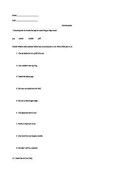 Onomatopoeia Lesson/Worksheets