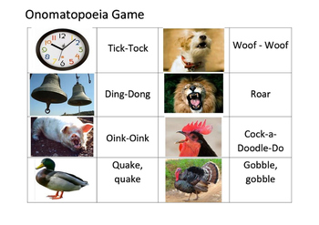 Onomatopoeia - Match Game - Poetry
